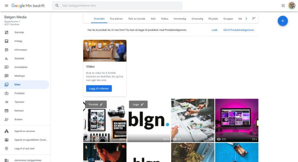 Google min bedrift bilder og video